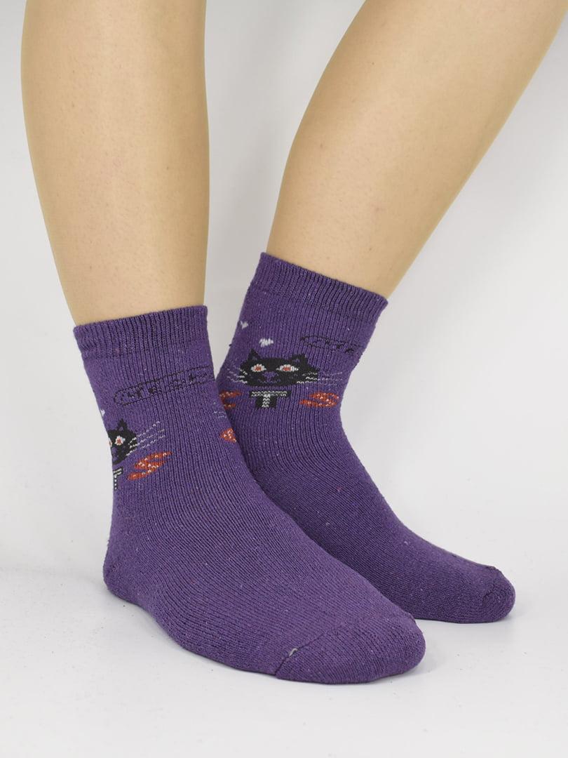 Шкарпетки фіолетові з малюнком | 5226515