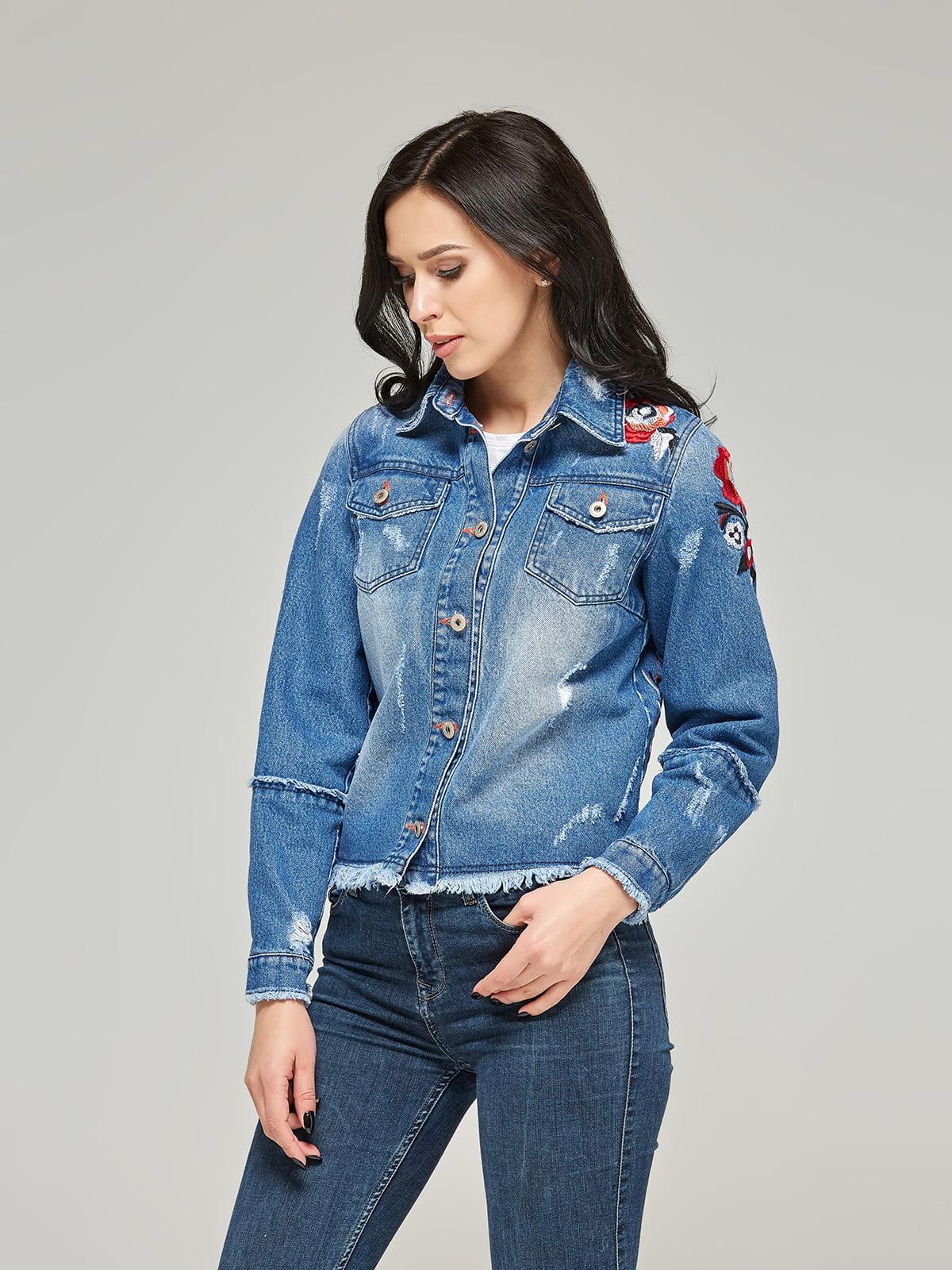 Куртка синя джинсова з вишивкою | 5224702