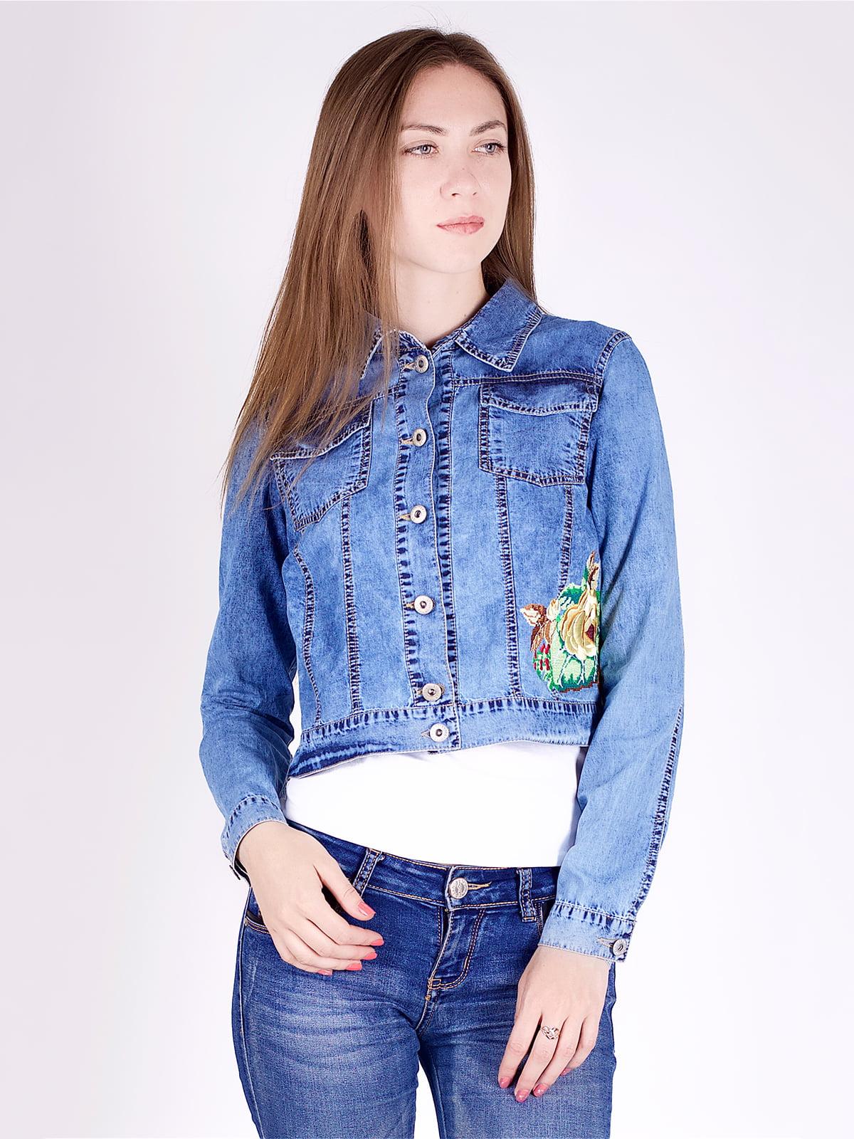 Куртка синя джинсова з принтом | 5224723
