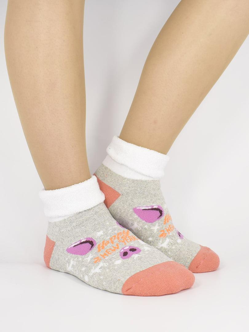 Шкарпетки сірі з малюнком | 5226225