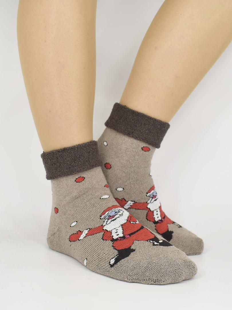 Шкарпетки бежеві з малюнком | 5226307