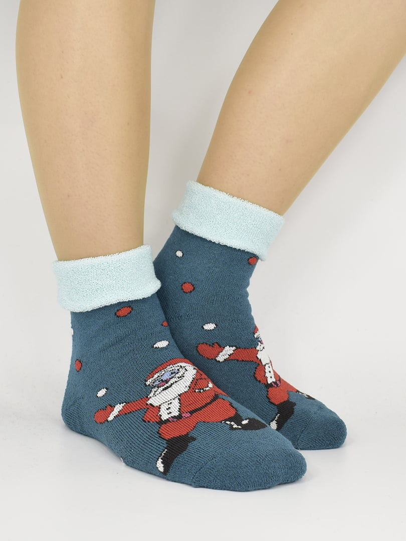 Шкарпетки темно-зелені з малюнком   5226309