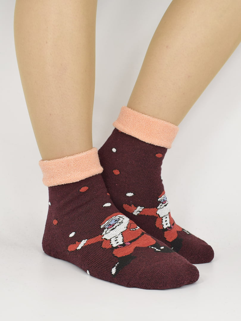 Шкарпетки бордові з малюнком | 5226311