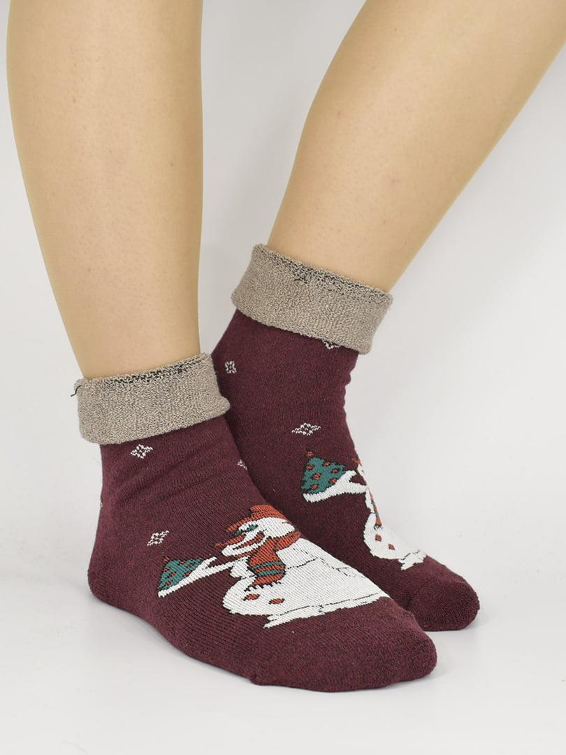 Шкарпетки бордові з малюнком | 5226324