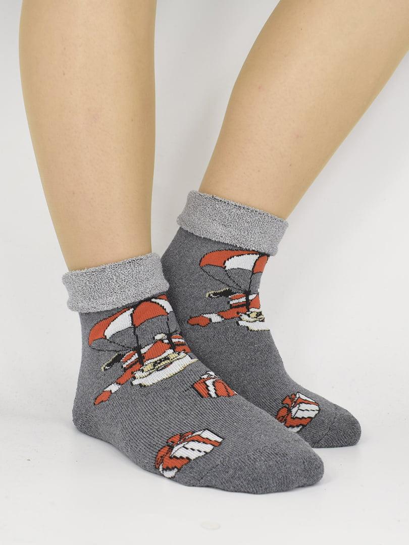 Шкарпетки сірі з малюнком | 5226334