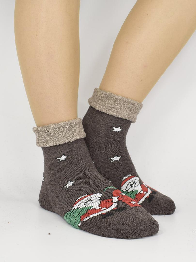 Шкарпетки коричневі з малюнком | 5226347