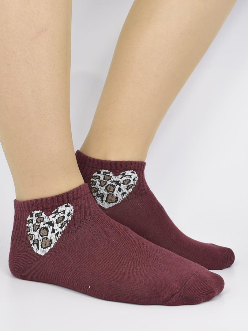 Шкарпетки бордові з малюнком | 5226162