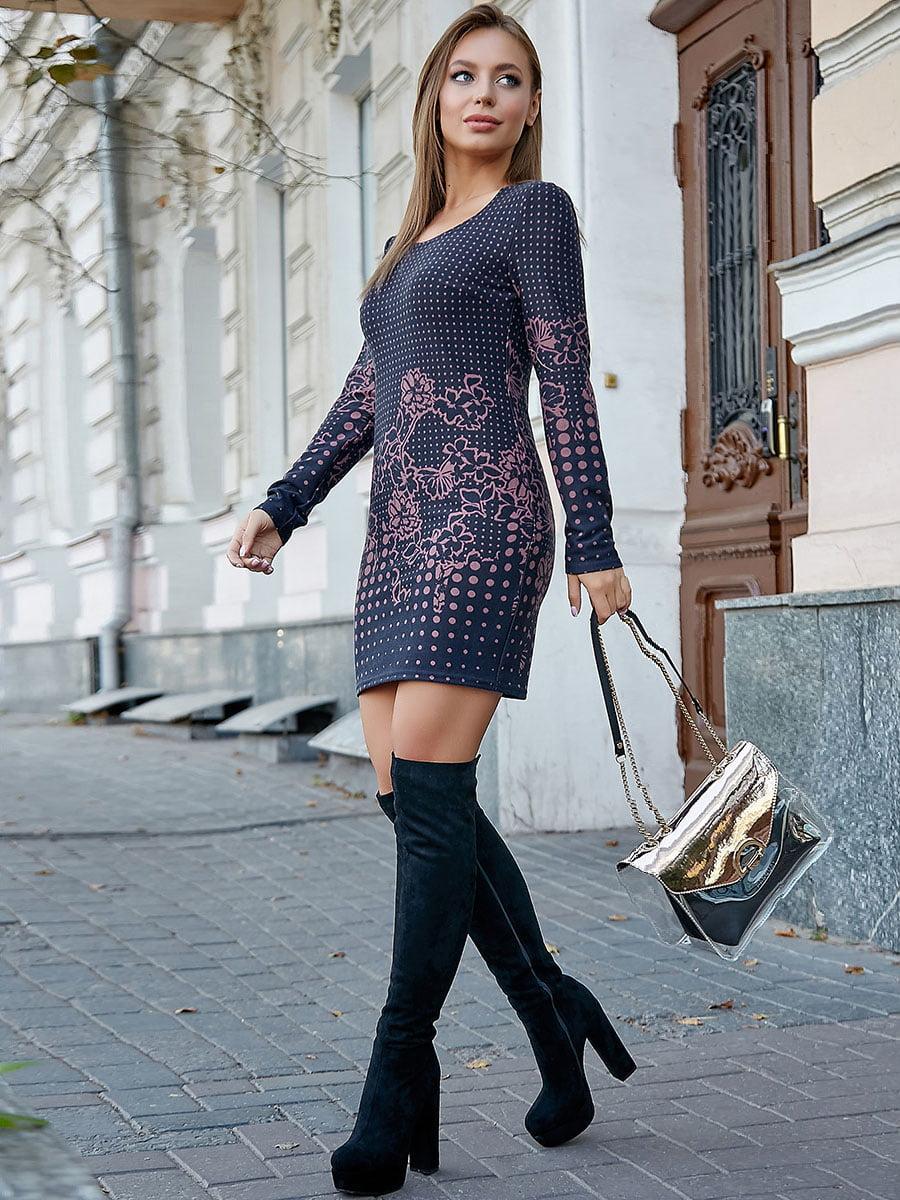 Платье темно-синее в горох и цветочный принт | 5228405