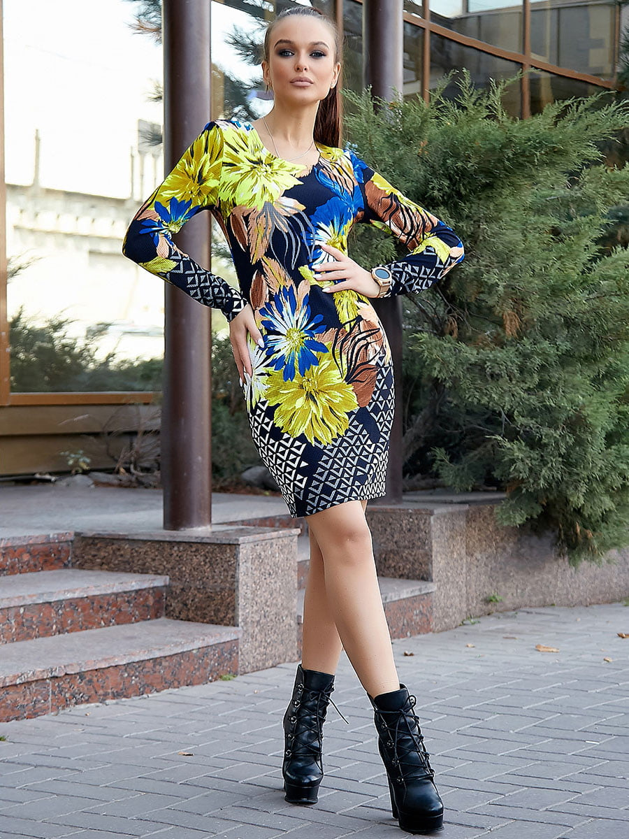 Платье комбинированной расцветки   5228412