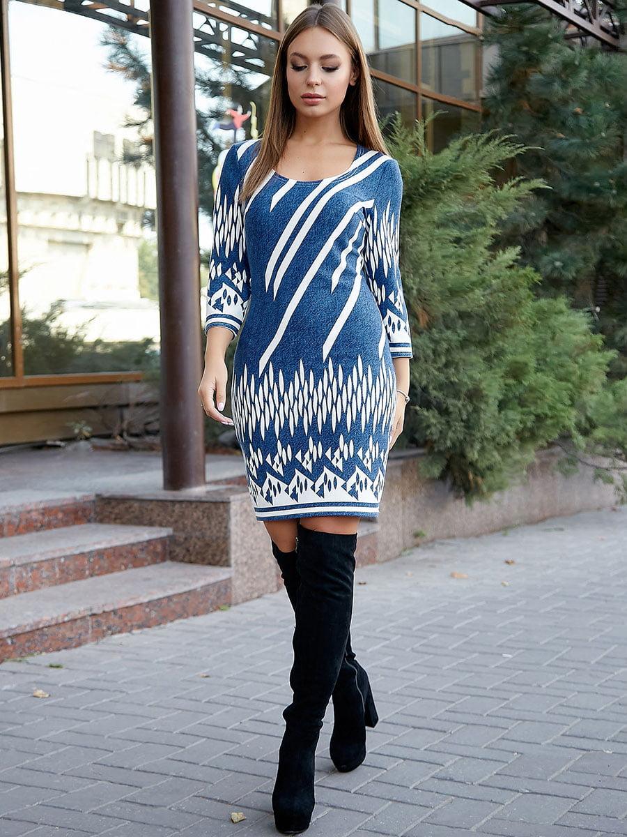 Платье сине-белая с принтом | 5228417