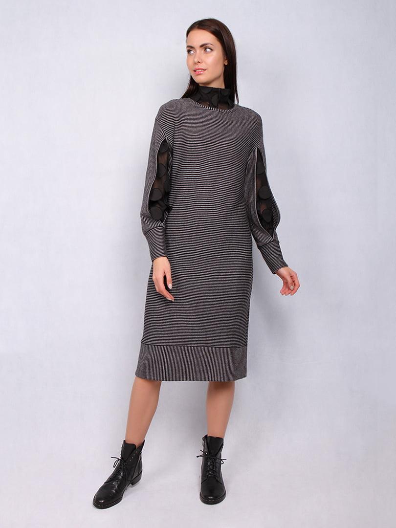Платье серое в полоску | 5109810