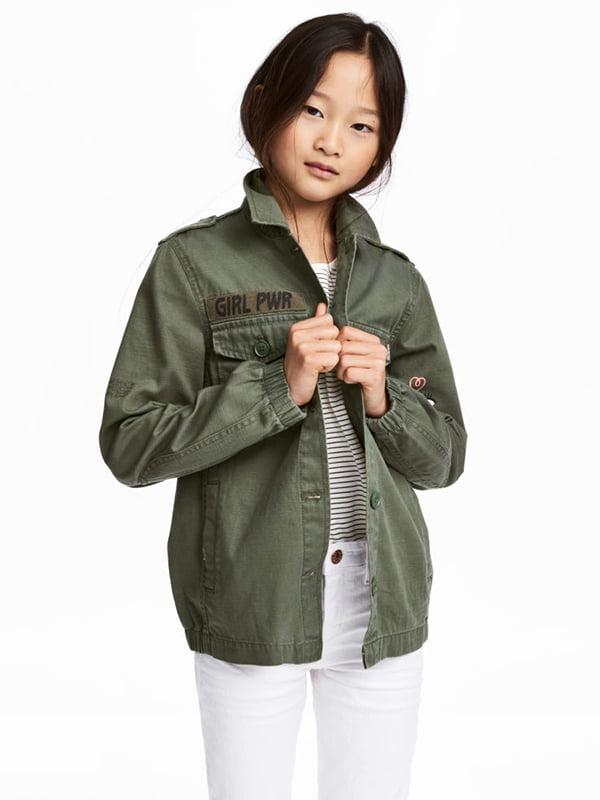 Куртка кольору хакі з принтом   5231539