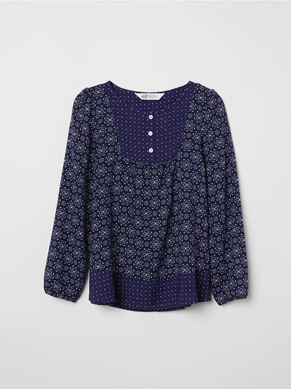 Блуза темно-синя з принтом | 5231589