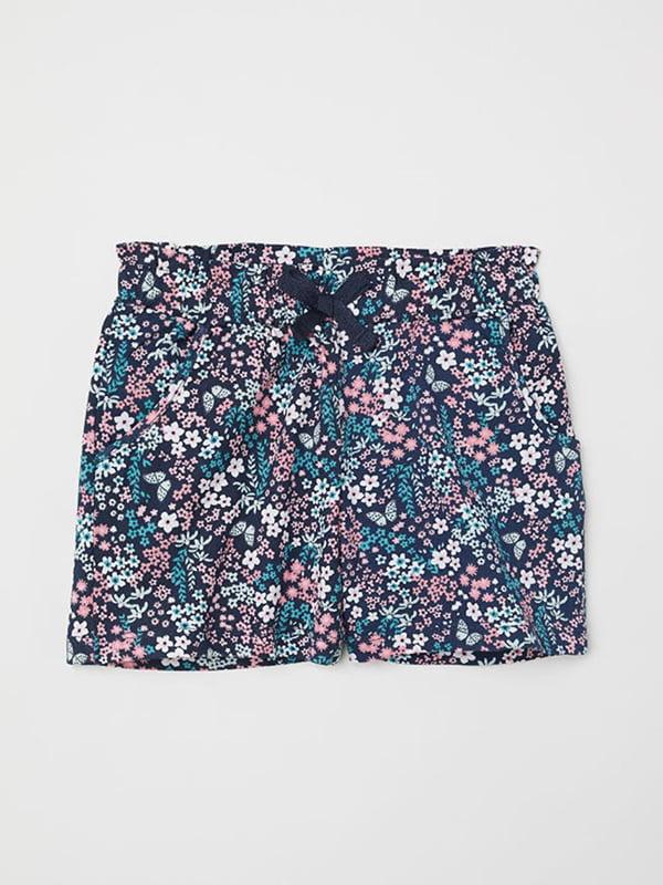 Шорти темно-сині з квітковим принтом | 5231763