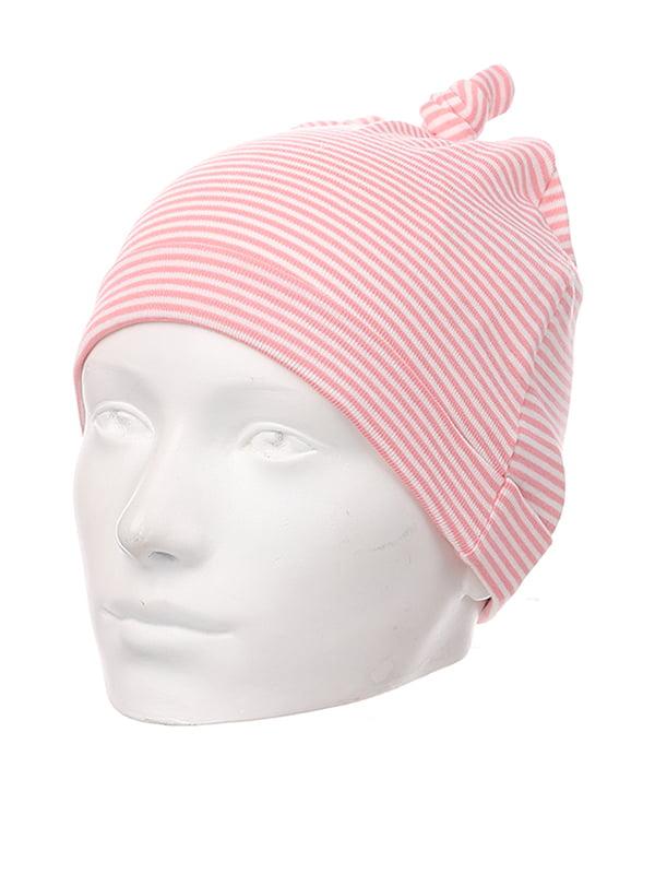 Шапка рожева в смужку | 5231805