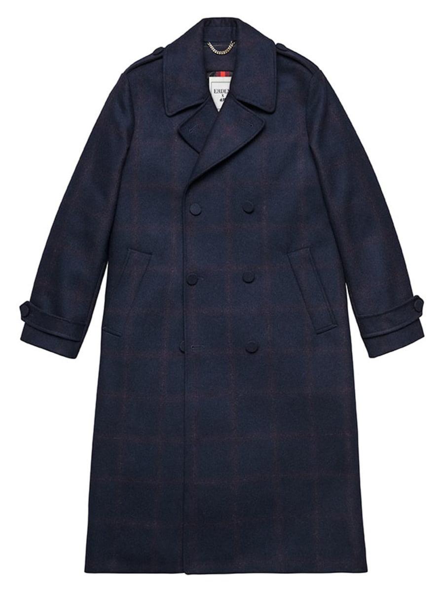 Пальто темно-синє картате | 5233168
