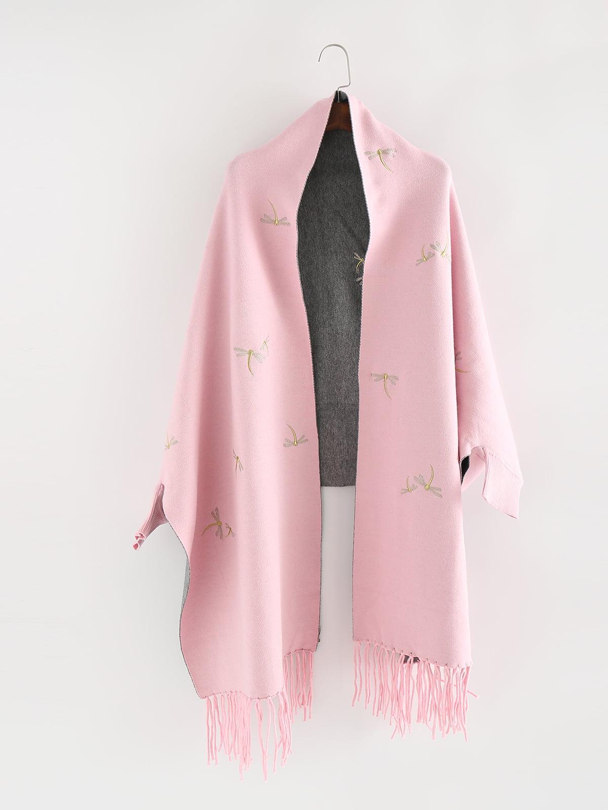Пончо рожеве з вишивкою | 5242281