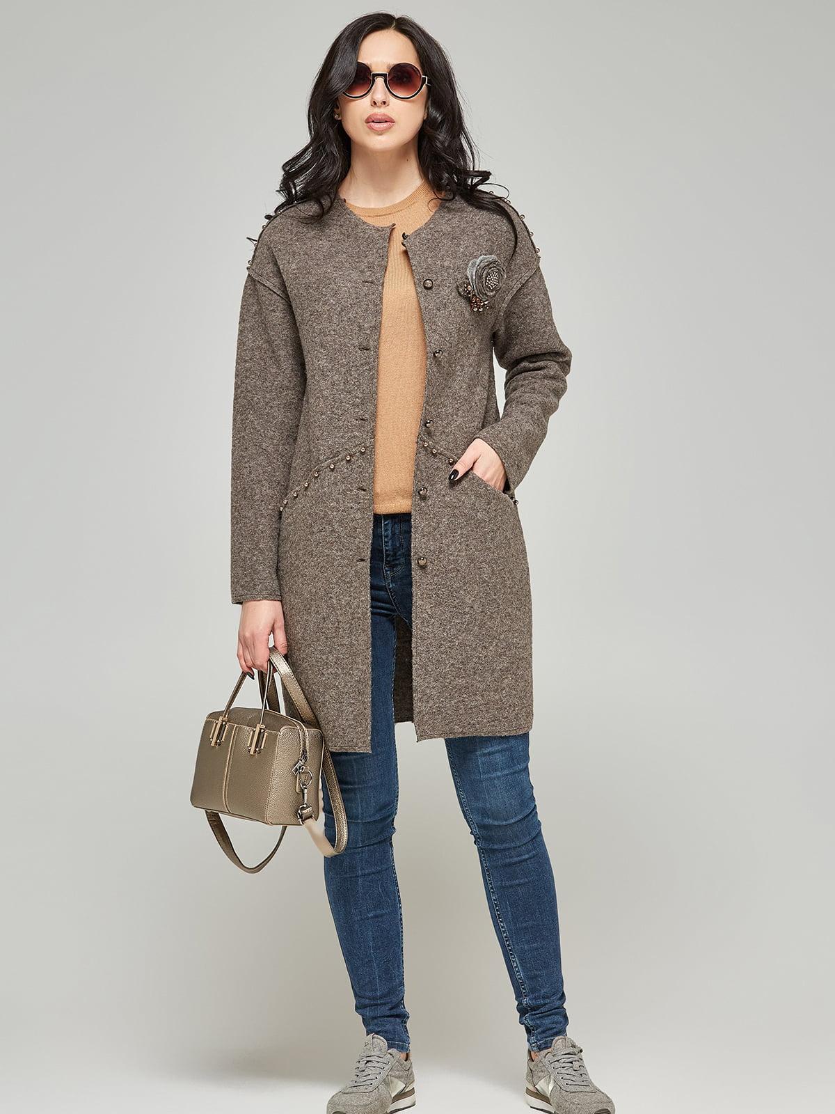 Пальто кольору капучино   5224714