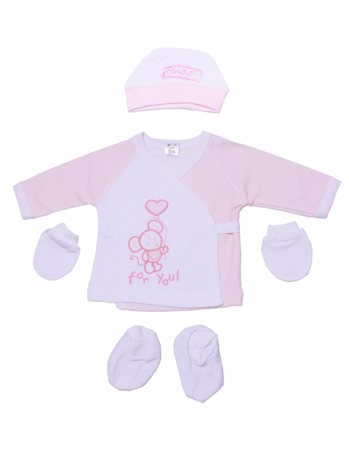 Комплект: сорочечка, шапочка, пінетки і царапки   5246841
