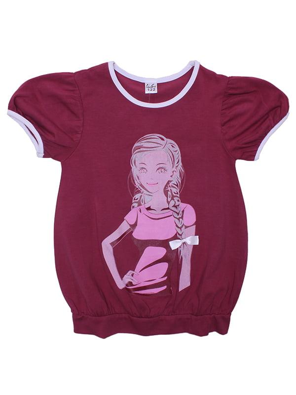 Блуза бордовая с принтом | 5248675
