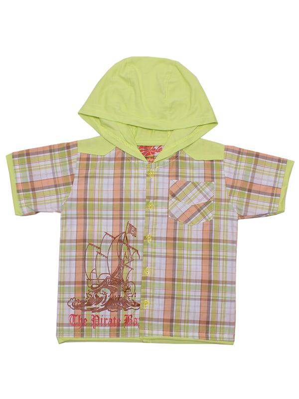 Рубашка салатовая в клетку   5248697