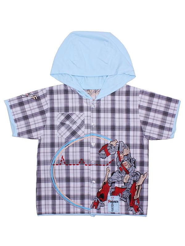Рубашка голубая в клетку | 5248698
