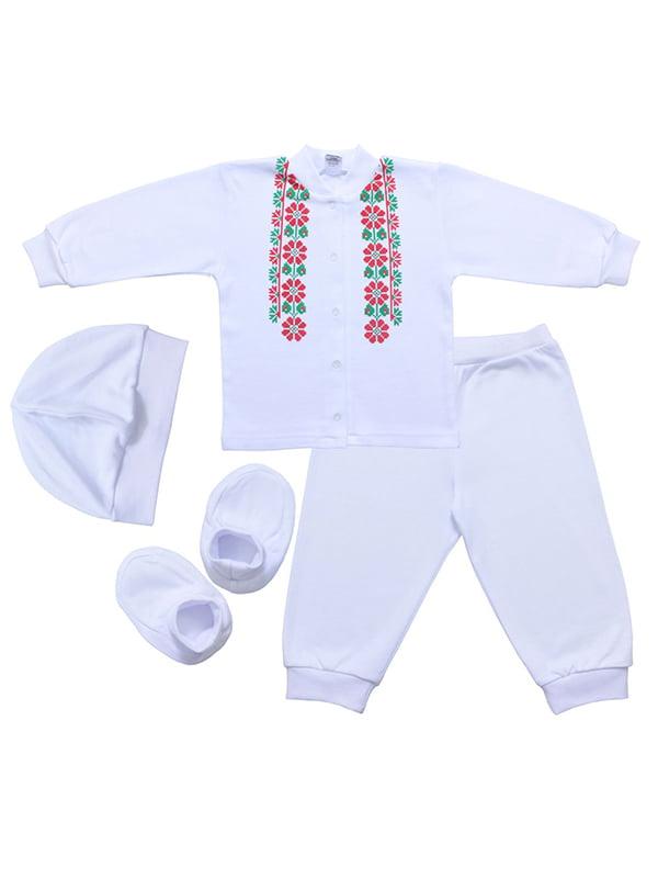 Комплект: кофта, брюки, шапка и пинетки | 5249277