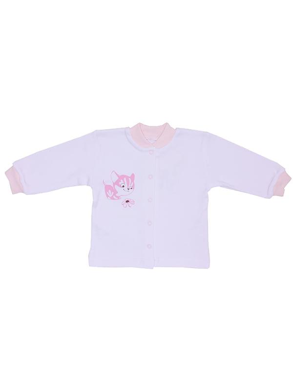 Кофточка белая с розовыми манжетами | 5249752