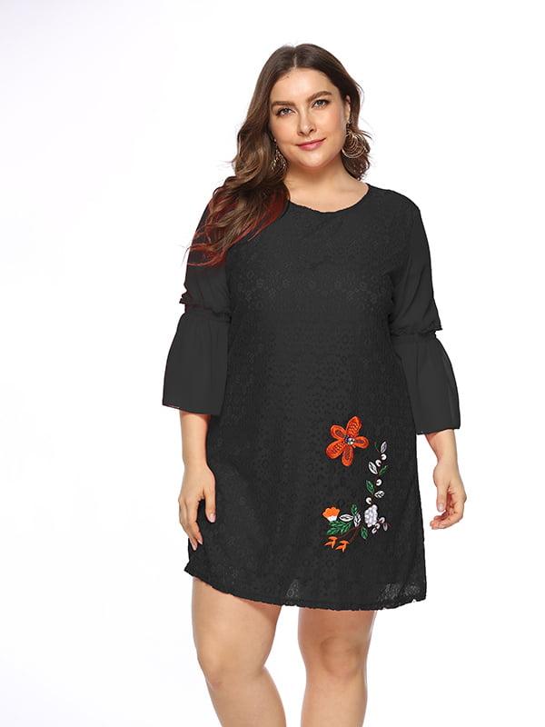 Платье черное с рисунком   5251000
