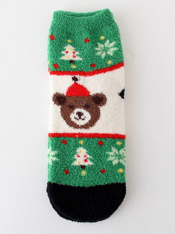 Шкарпетки махрові з новорічним малюнком | 5252719