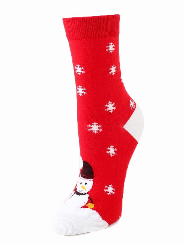 Шкарпетки червоні в принт | 5252728