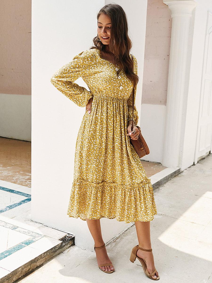 Сукня жовта в принт | 5256911