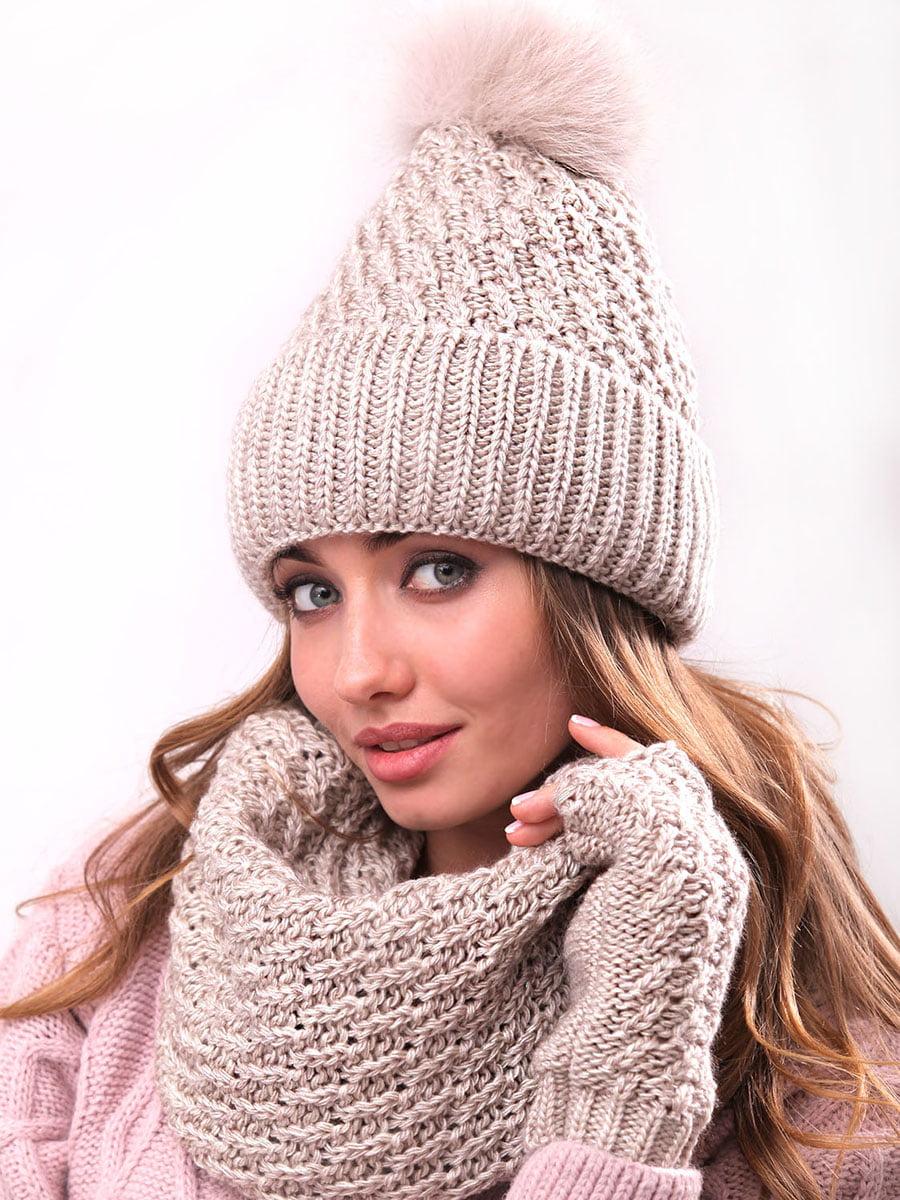 Комплект: шапка, хомут і рукавички | 5227682