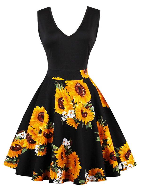 Сукня чорно-жовта з принтом | 5261416