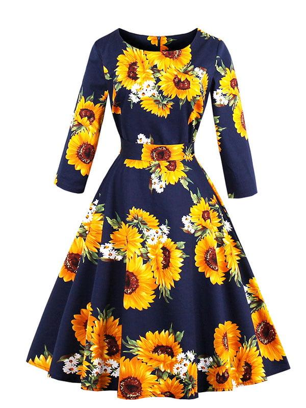 Сукня темно-синя з квітковим принтом | 5261420