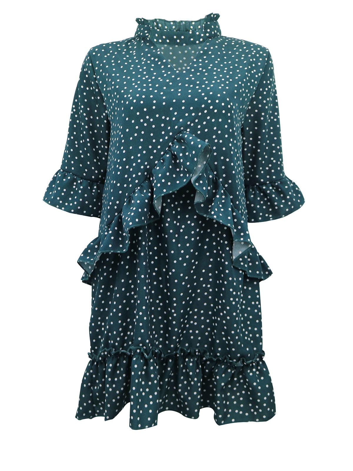 Платье зеленое в горошек | 5263591