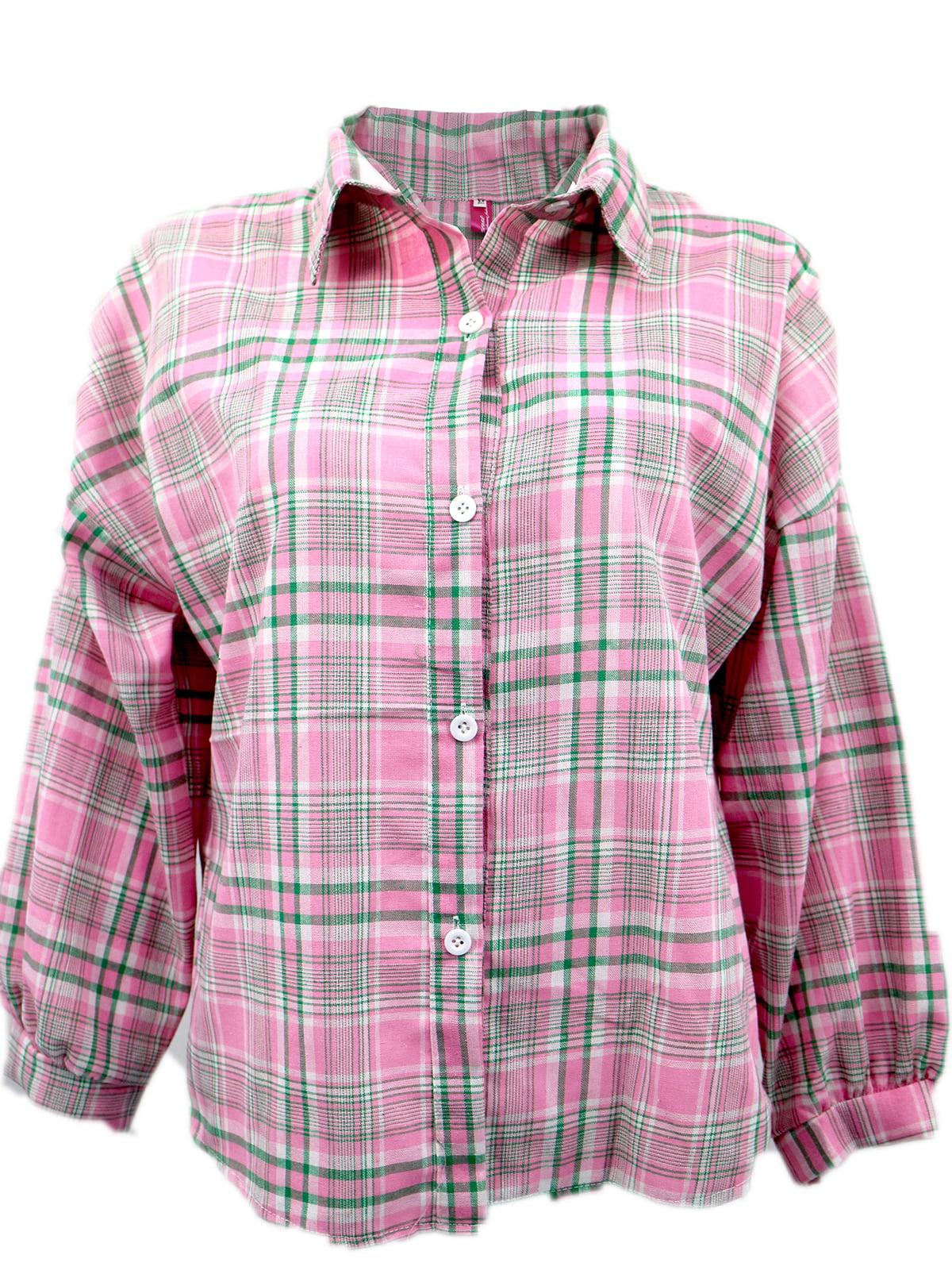 Рубашка розовая в клетку | 5263614