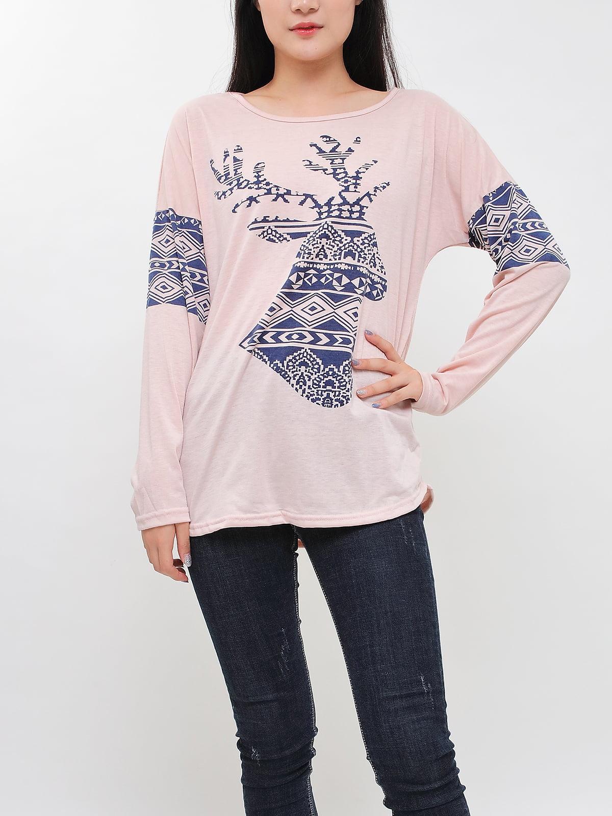 Блуза абрикосового цвета с принтом   5263663