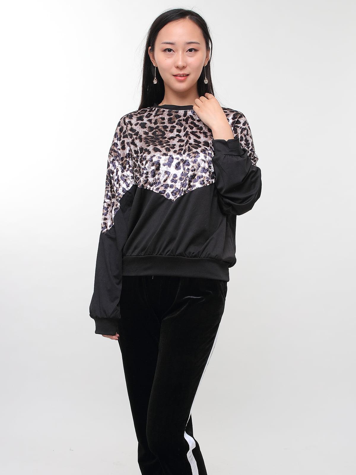 Світшот чорний з леопардовим принтом | 5263681
