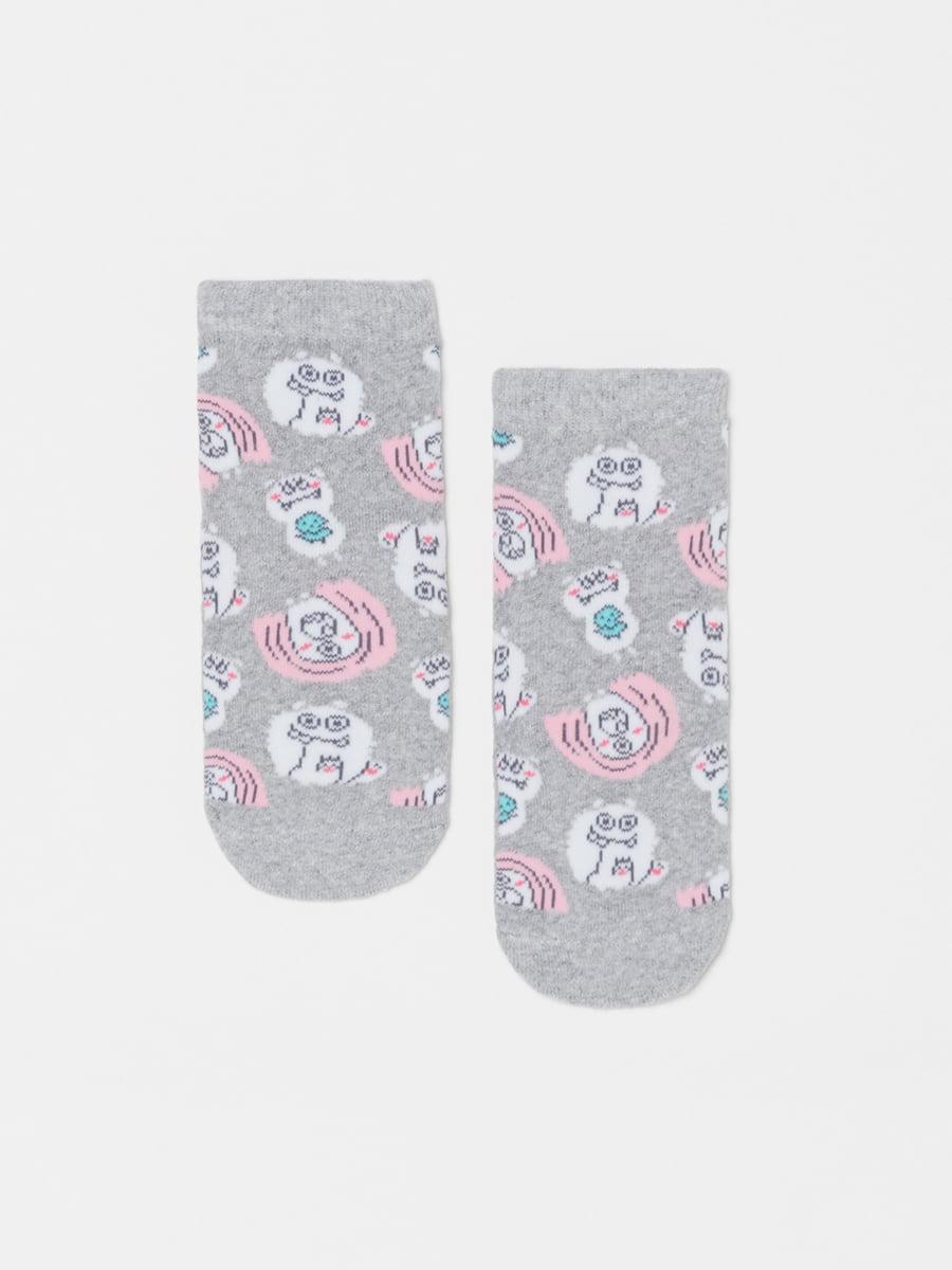 Шкарпетки сірі в принт | 5183647