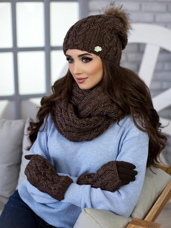 Комплект: шапка, шарф-снуд и перчатки | 5270792
