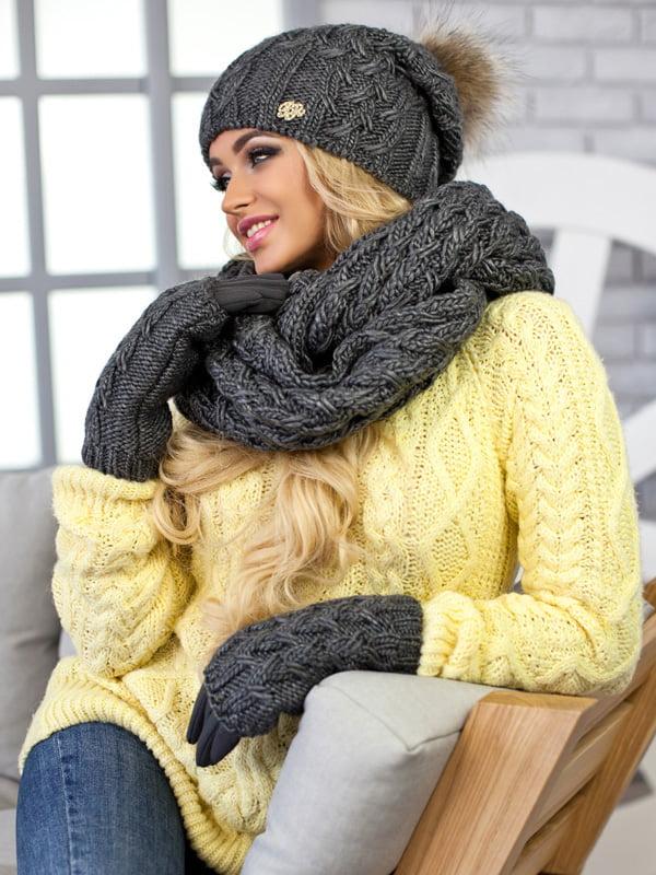 Комплект: шапка, шарф-снуд і рукавички   5270795