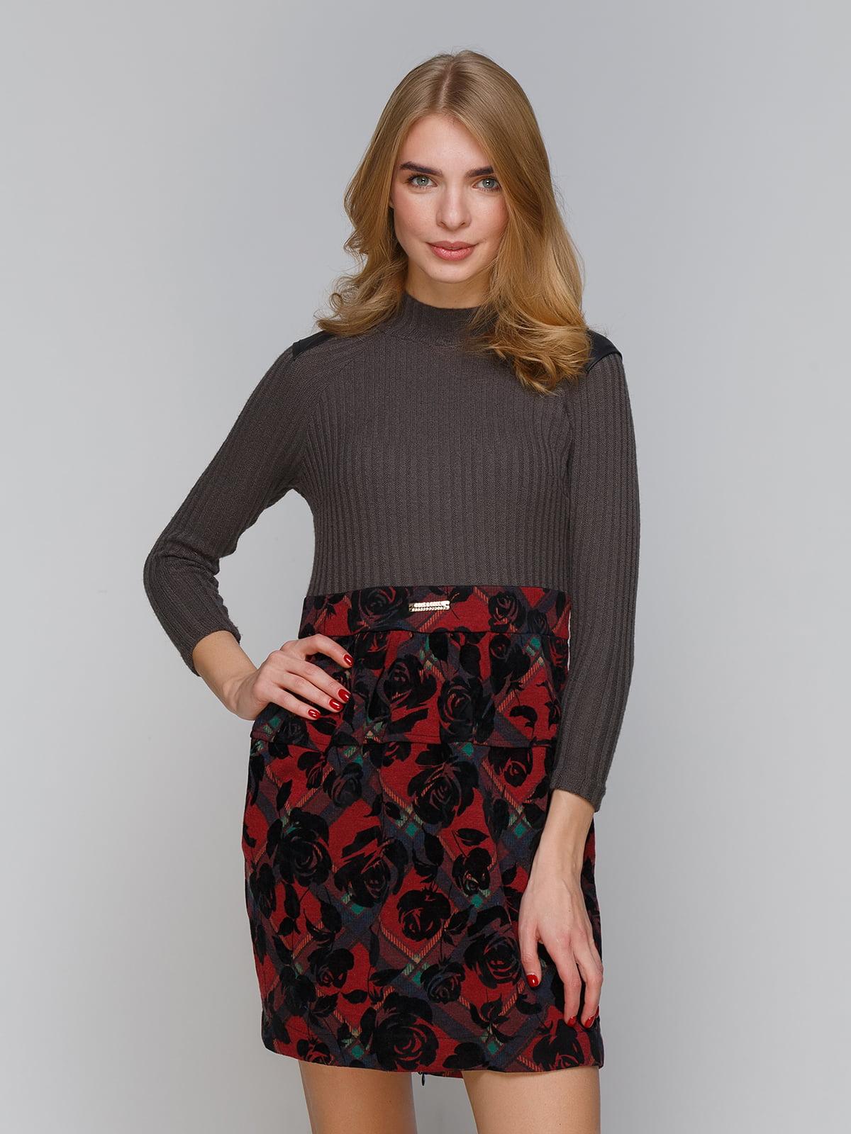 Платье серо-бордовое | 5266111
