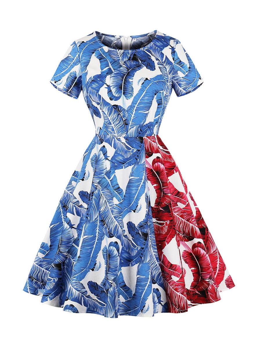 Сукня червоно-синя в принт | 5261433