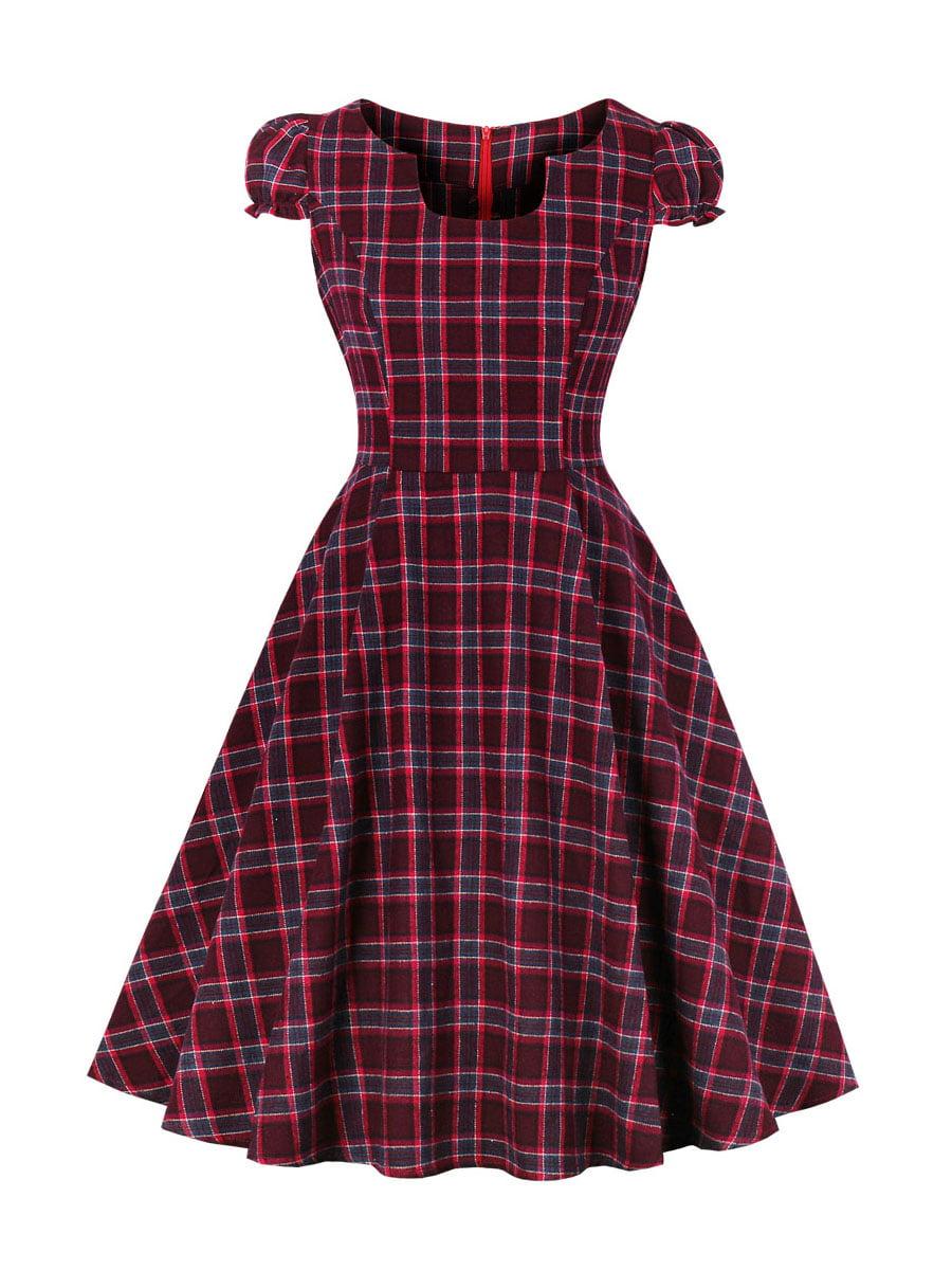 Сукня фіолетова в клітинку | 5261435