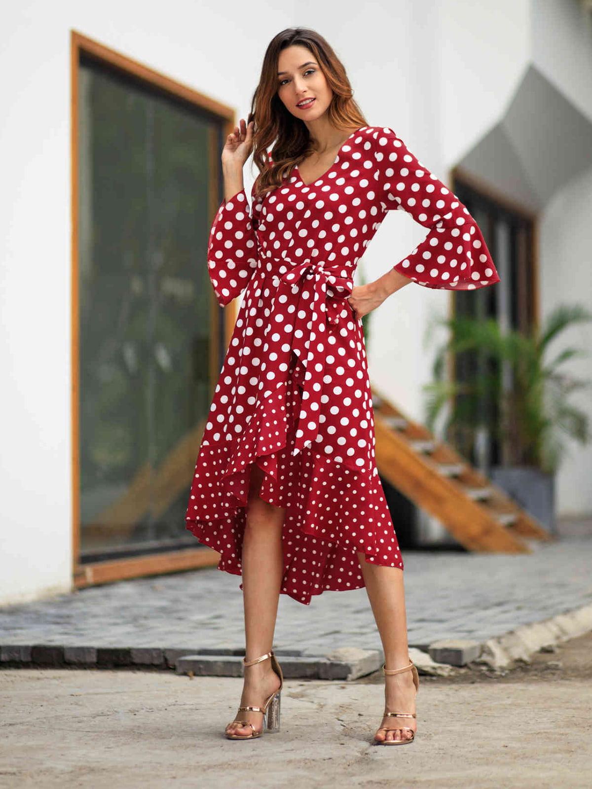 Сукня червона в горошок | 5261468