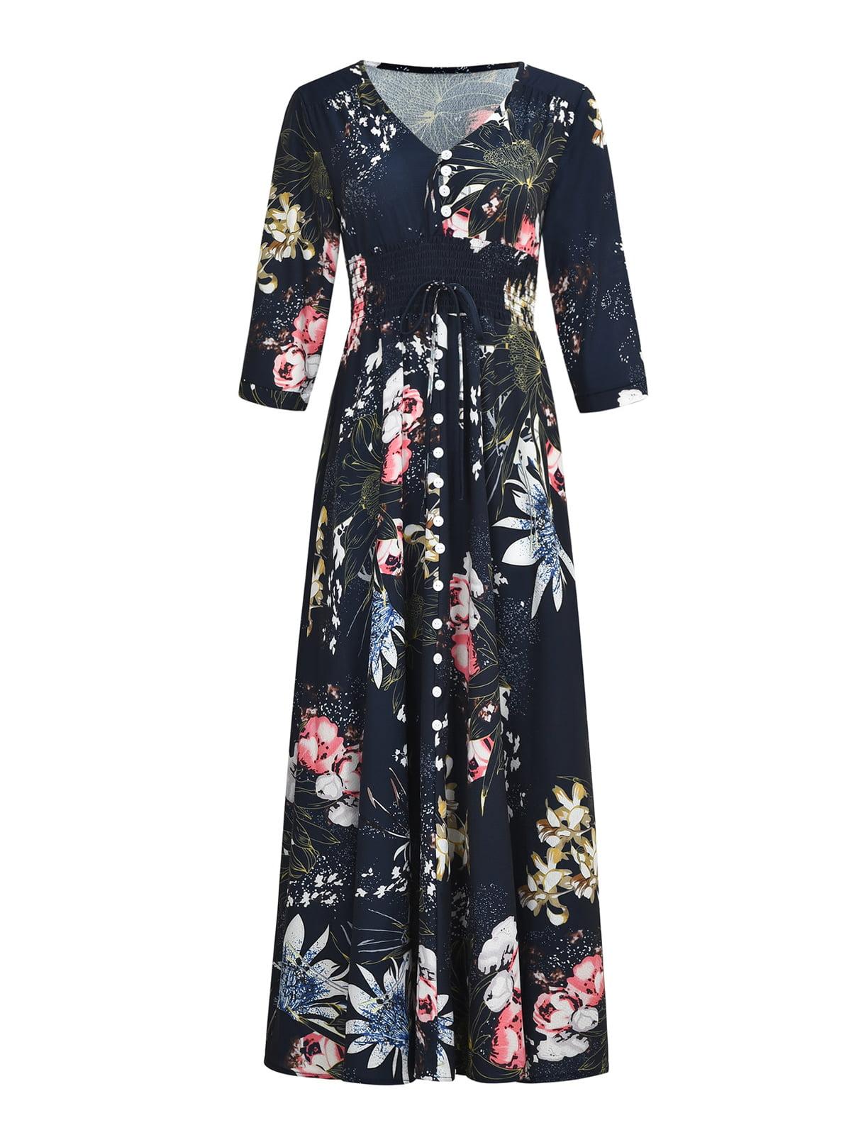 Платье темно-синее в цветы | 5261455