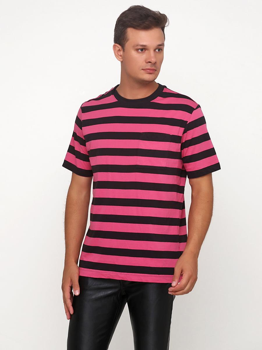Футболка чорно-рожева | 5273473
