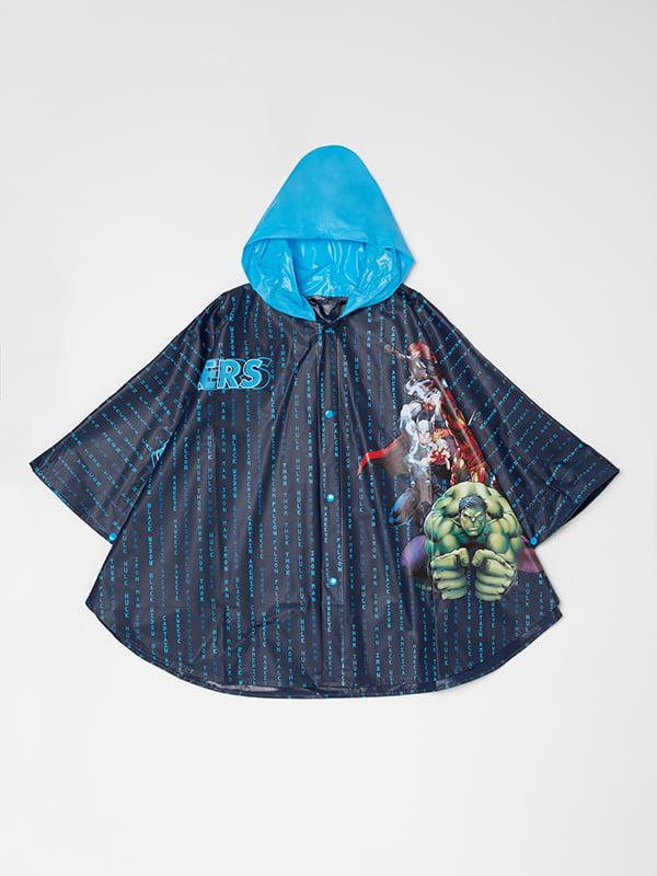 Дощовик темно-синій у принт | 5183558