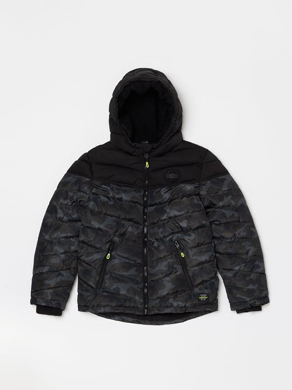 Куртка чорна в принт | 5271668